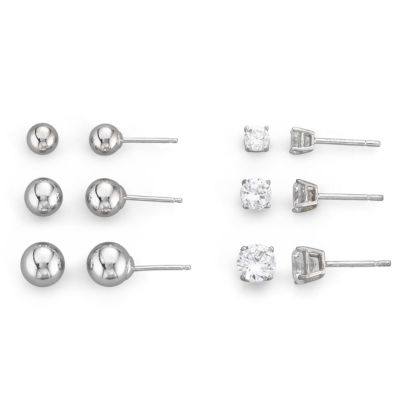 Sterling Silver 6-Pair Stud Earring Set