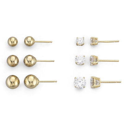 14K Gold over Silver 6-Pair Stud Earring Set