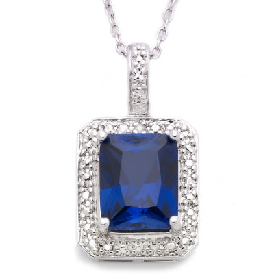 Sterling Silver Lab-Created Sapphire Pendant  Necklace