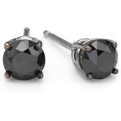 1 CT. T.W. Color-Enhanced Black Diamond Studs 10K White Gold