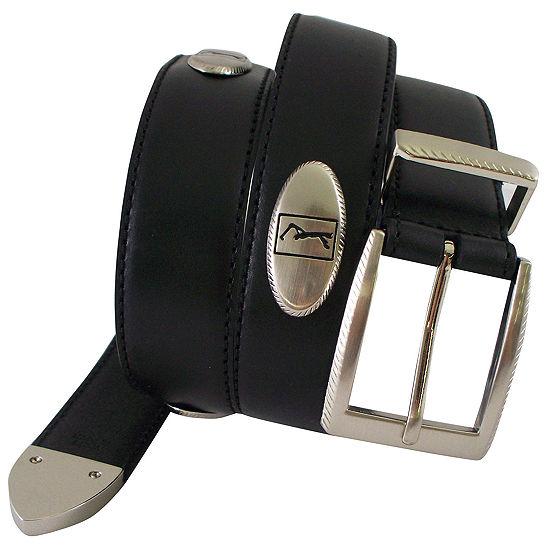 PGA TOUR™ Men's Top Grain Leather Belt with Silver Finish Buckle