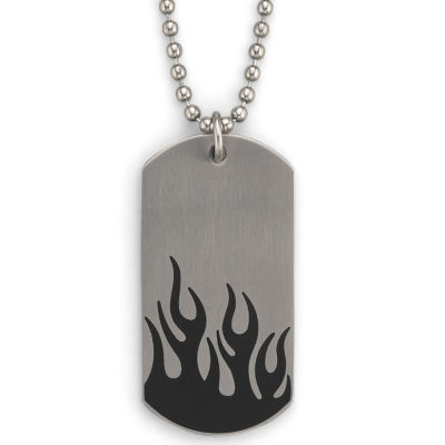 Men's Flame Dog Tag Stainless Steel