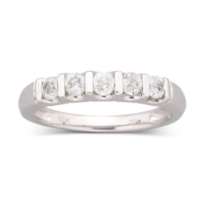 1/2 CT. T.W. Diamond Bar Band Ring 10K White Gold