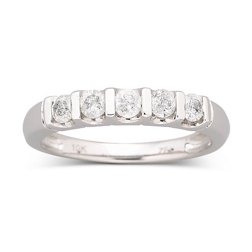 1/2 CT. T.W. Diamond Bar Band Ring 10K White Gold