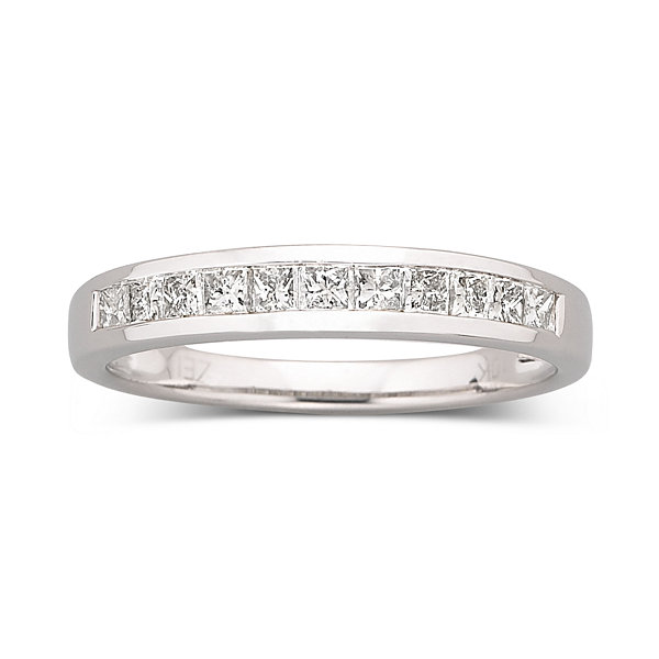 1/2 CT. T.W. Princess Diamond Band 10K White Gold