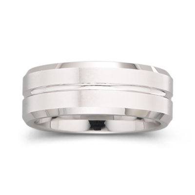 Tungsten Ring, Mens 8mm Groove Center Band
