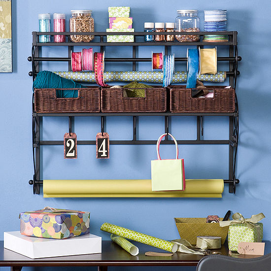Home Décor Collections Wall Mount Craft Storage Rack W/ Baskets