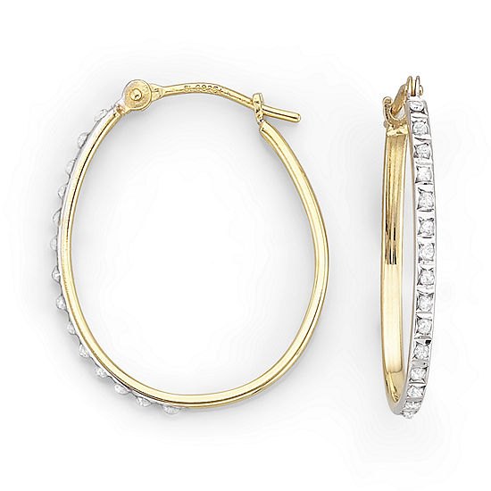 Diamond Fascination™ 22.3mm Pear-Shaped Hoops