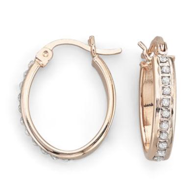 Diamond Fascination™ 14K Rose Gold-Plated Oval Hoop Earrings