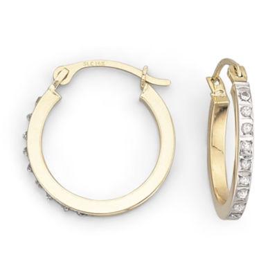 Diamond Fascination™ 15.4mm Round Hoop Earrings