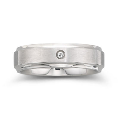 Mens 6mm Stainless Steel Diamond-Accent Band