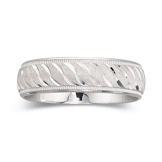 Mens 6mm Swirl Sterling Silver Band