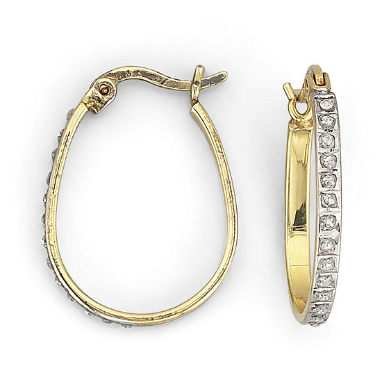 Diamond Fascination™ 20.3mm Pear-Shaped Hoops