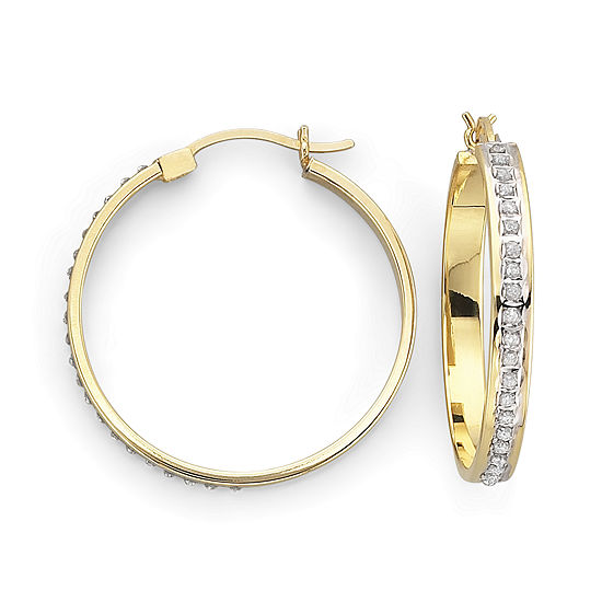 Diamond Fascination™ 18K Gold-Plated  29mm Round Hoop Earings