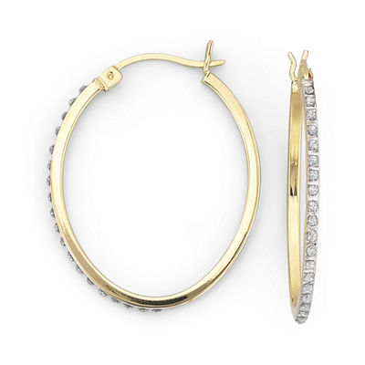 Diamond Fascination™ 32mm Oval Hoops