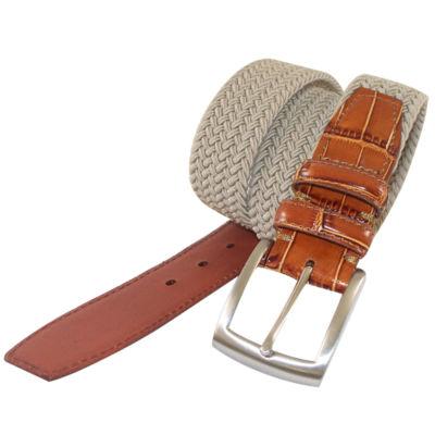 PGA Tour Crocodile Leather Webbed Belt