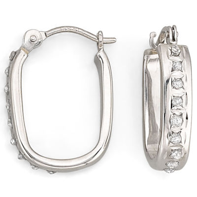 "Diamond Fascination™ ""U"" Hoop Earrings"