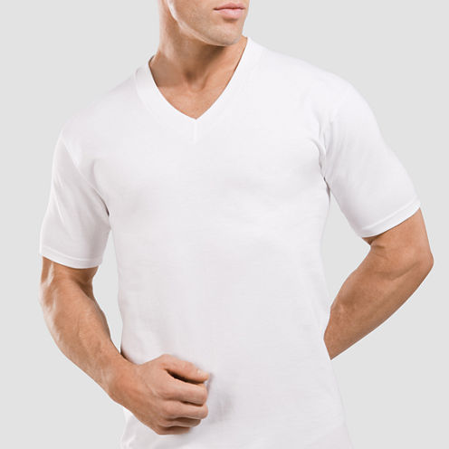 Stafford® 4-pk. Heavyweight V-Neck T-Shirts - Big & Tall