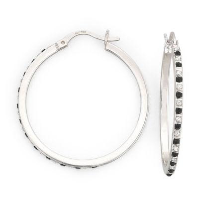 Diamond Fascination™ Black & White 34.2mm Hoops