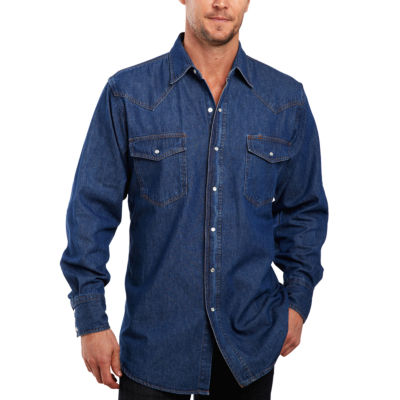 Ely Cattleman® Denim Washed Snap Button-Front Shirt