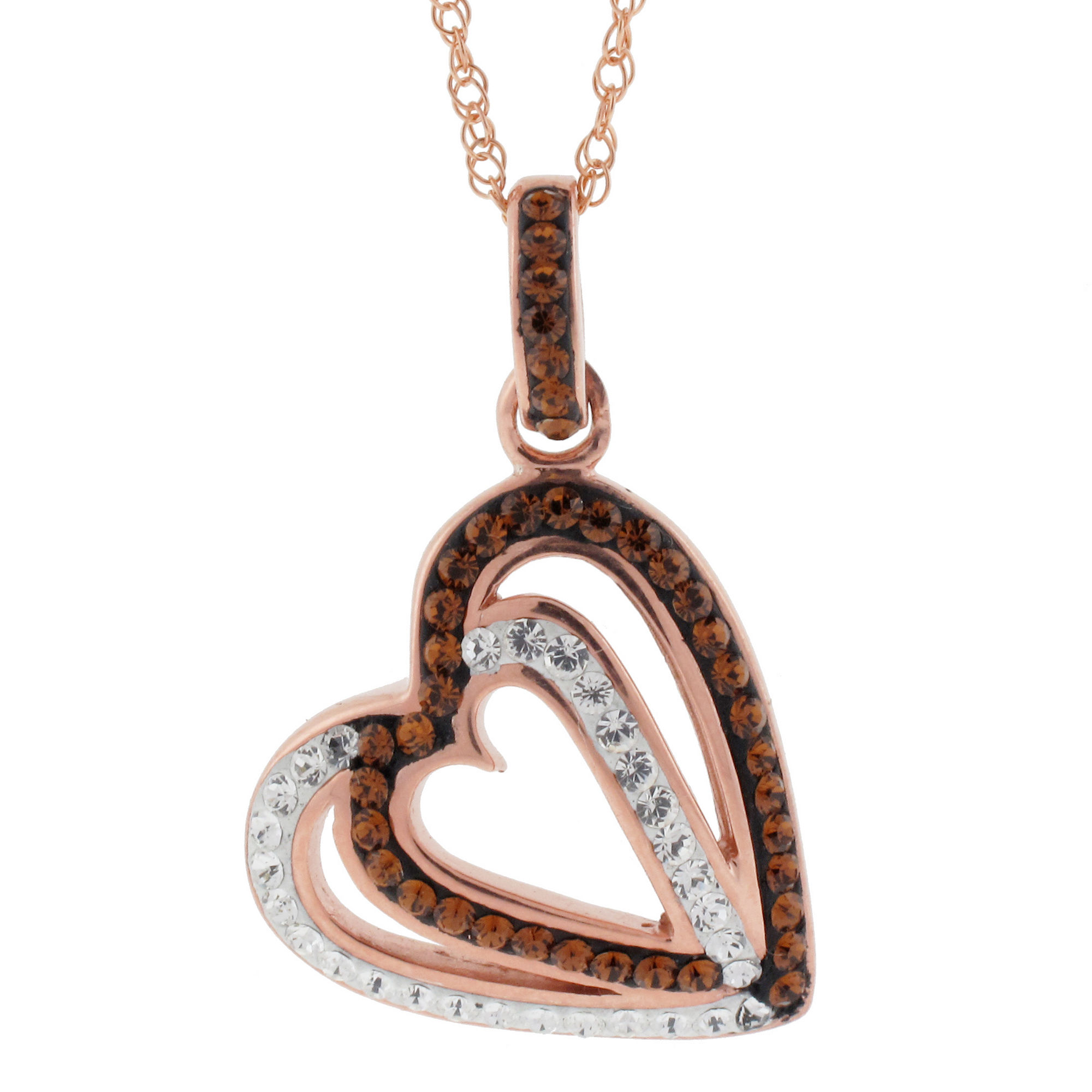 Rose 'N Chocolate Heart Crystal Pendant Necklace
