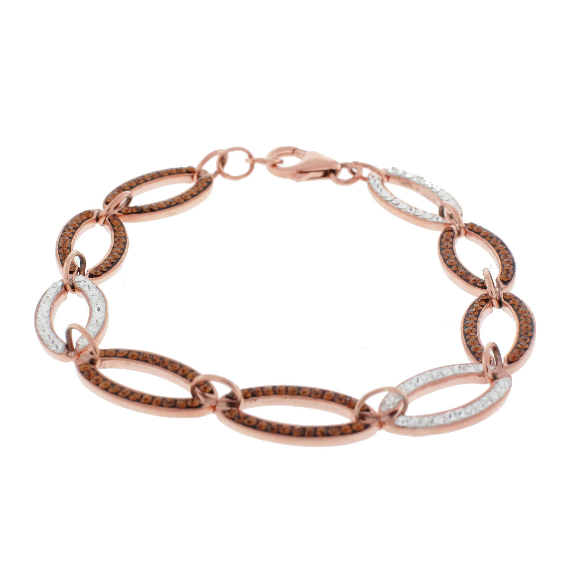 Rose 'N Chocolate Link Crystal Bracelet