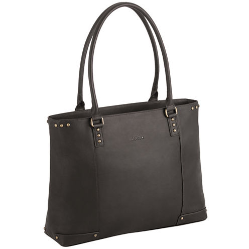 """SOLO 16"""" Leather Laptop Tote"""