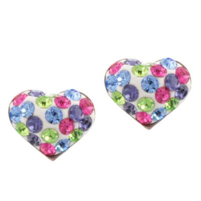 Silver Treasures Multi Color Pastel Crystal Heart Stud Earrings