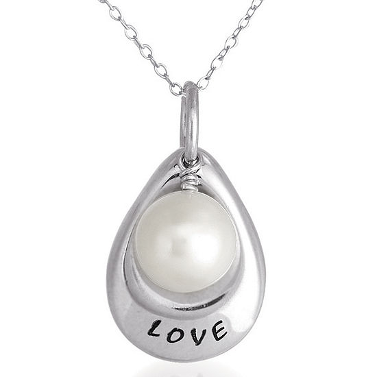 """Love"" Cultured Freshwater Pearl Pendant"