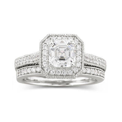 DiamonArt® Sterling Silver 1 7/8 CT. T.W. Cubic Zirconia Bridal Ring Set