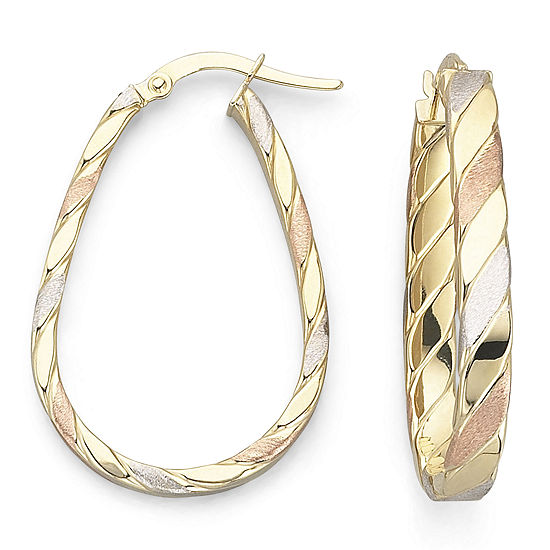 Made In Italy Satin Tri Tone 10k Gold Hoop Earrings