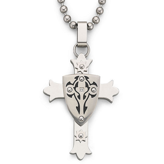 Mens Stainless Steel Cross with Shield Pendant Necklace