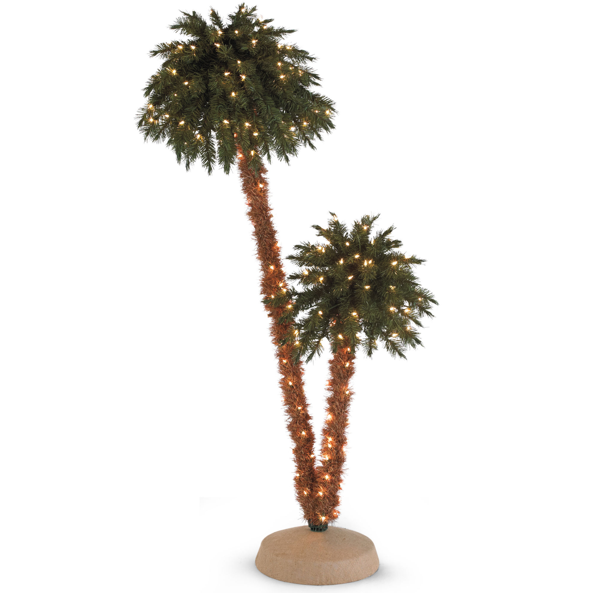 6' Pre-Lit Doubled Headed Palm Christmas Tree