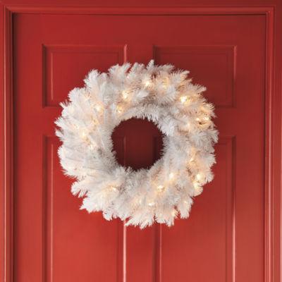 "24"" Pre-Lit White Alaskan Fir Wreath"