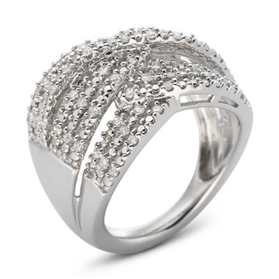 1/2 CT. T.W. Triple-Weave Diamond Band Sterling Silver