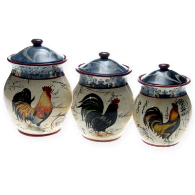 Certified International Lille Rooster 3-pc. Canister Set