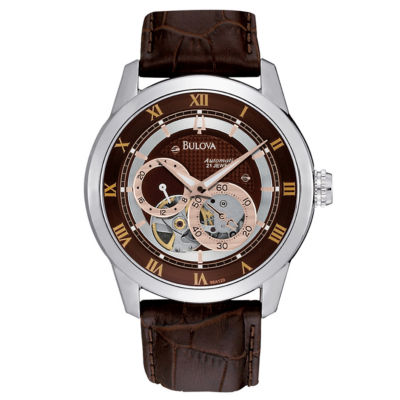 Bulova® Mens Brown Leather Strap Watch 96A120