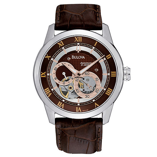 Bulova Classic Mens Automatic Brown Leather Strap Watch-96a120