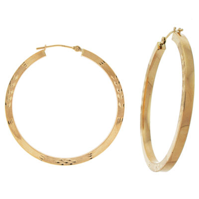 10K Yellow Gold 38mm Square-Tubed Hoop Earrings