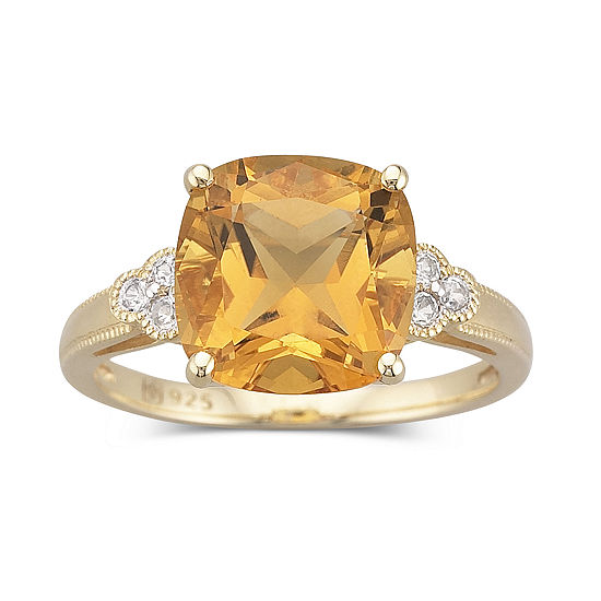 Womens 3 1/2 CT. T.W Genuine Yellow Citrine 14K Gold Over Silver Cocktail Ring