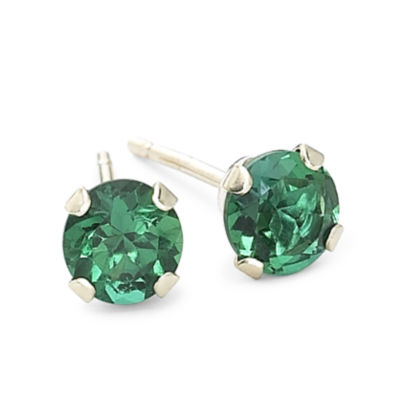 Lab Created Green Emerald 10K Gold 4mm Circle Stud Earrings