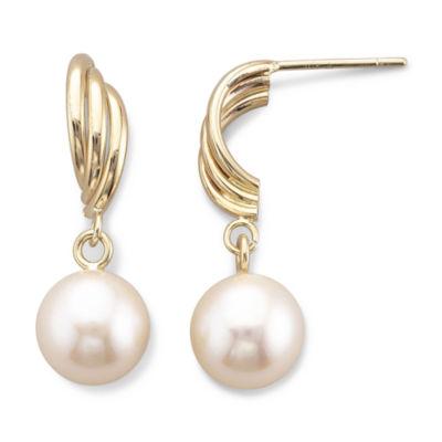Cultured Freshwater Pearl Dangle Earrings 10K Gold