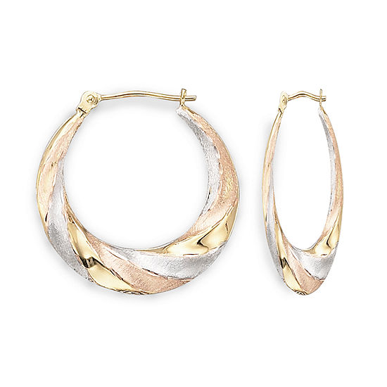 14K Gold Tri-Color Hoop Earrings