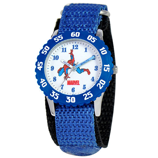Marvel Time Teacher Spiderman Boys Blue Strap Watch-Wma000043
