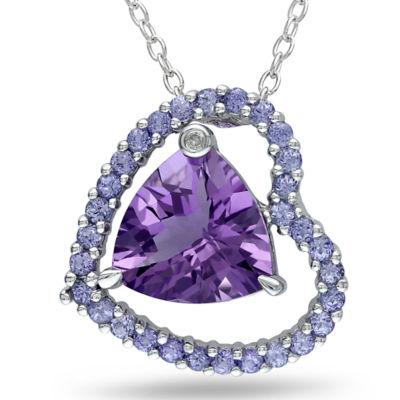 Amethyst, Tanzanite & Diamond Accent Heart Pendant Necklace