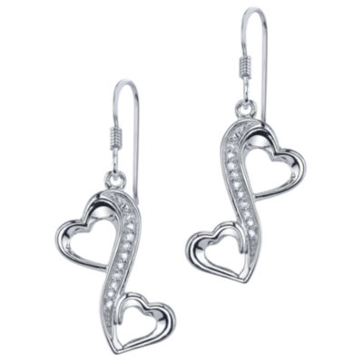 Love Grows™ 1/10 CT. T.W. Diamond Heart Earrings