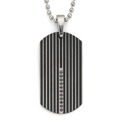 Dog Tag Necklace, .15 ct. t.w. Diamond Steel