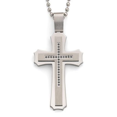 .15 ct. t.w. Black Diamond Steel Cross Pendant Necklace