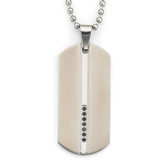 Dog Tag Necklace, .15 ct. t.w. Diamonds Steel