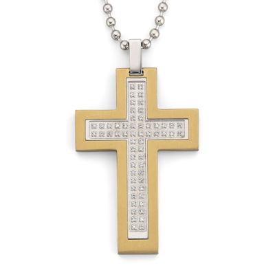 Mens Diamond Accent Steel Cross Pendant Necklace